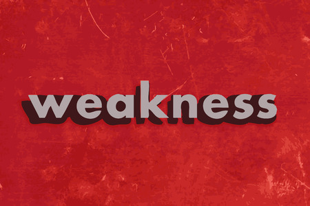 weakness: weakness vector word on red concrete wall Illustration