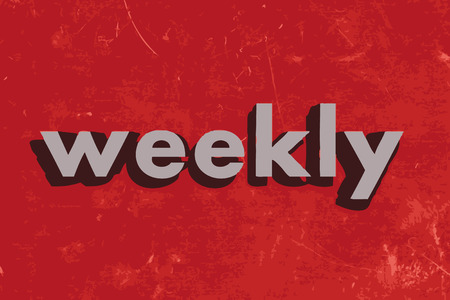 weekly: weekly vector word on red concrete wall Illustration
