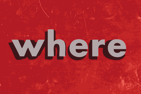 where: where vector word on red concrete wall Illustration