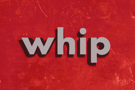 whip: whip vector word on red concrete wall