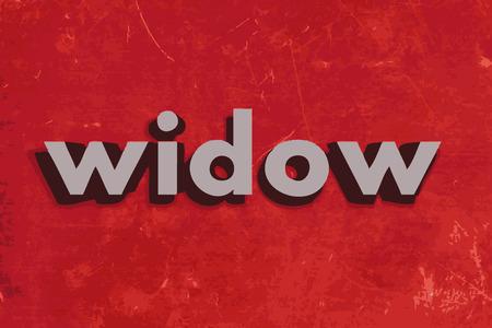 viuda: palabra viuda del vector en rojo muro de hormig�n Vectores