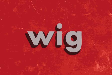 peluca: palabra peluca vector en rojo muro de hormig�n