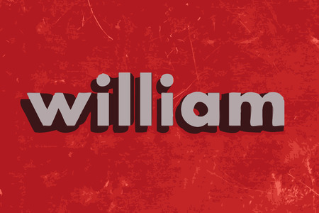 william vector word on red concrete wall