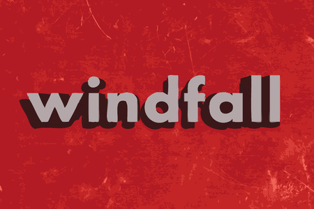 windfall: windfall vector word on red concrete wall