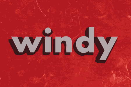 windy: windy vector word on red concrete wall
