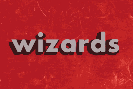 wizards: wizards vector word on red concrete wall Illustration