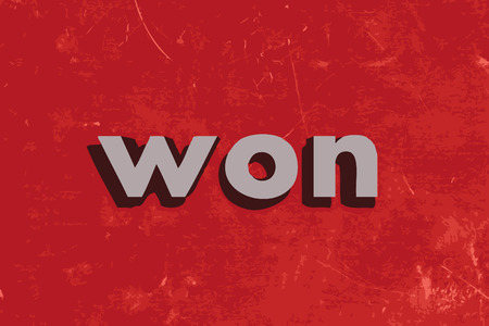 won: won vector word on red concrete wall