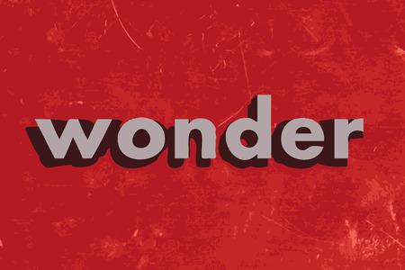 wonder: wonder vector word on red concrete wall Illustration
