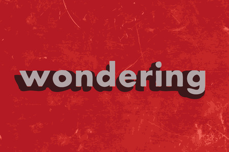 wondering: wondering vector word on red concrete wall Illustration