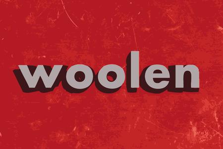woolen: woolen vector word on red concrete wall Illustration