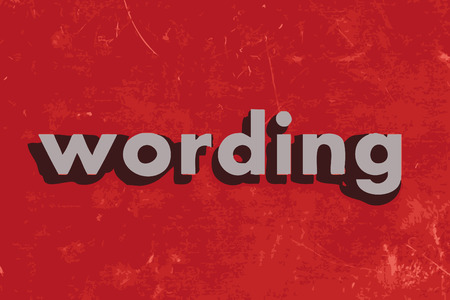 wording: wording vector word on red concrete wall