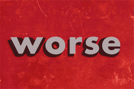 worse: worse vector word on red concrete wall