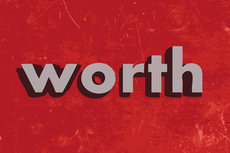 worth vector word on red concrete wall