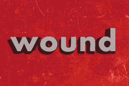 wound: wound vector word on red concrete wall