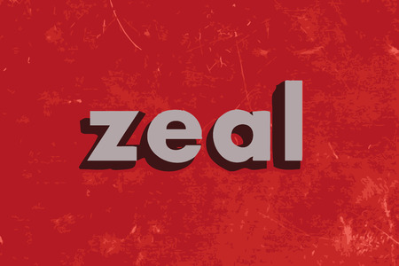 zeal vector word on red concrete wall