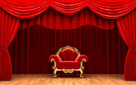 opulence: vector chair on red curtain stage