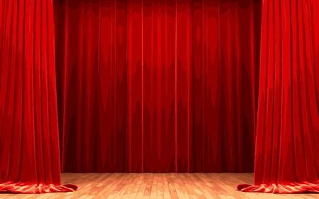 vector Red velvet curtain opening scene Vector