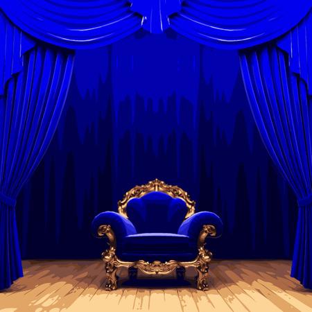 terciopelo azul: etapa cortina de terciopelo azul silla vector snd Vectores