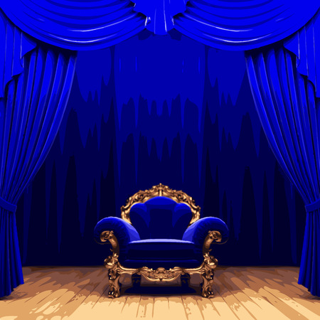 opulence: vector chair snd blue velvet curtain stage