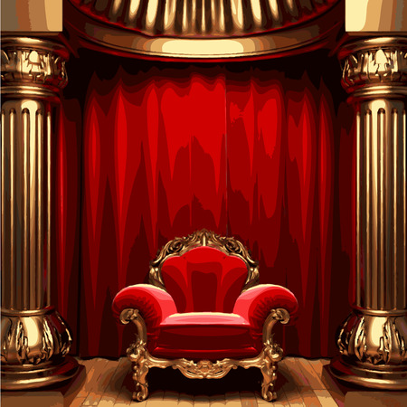 playhouse: vector chair and red curtain stage
