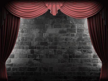 carmine: vector de terciopelo cortina y la pared de fondo de piedra