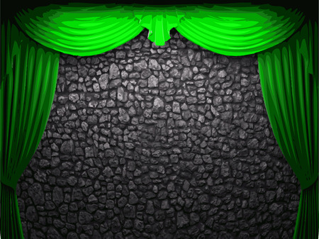 vector velvet curtain and stome wall background