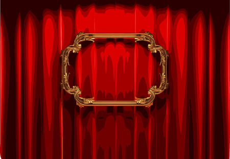 ambiance: vector golden frame and rev curtain stage Illustration