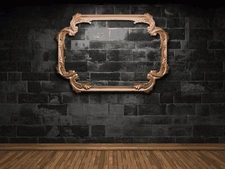vector illuminated stone wall and frame 矢量图像