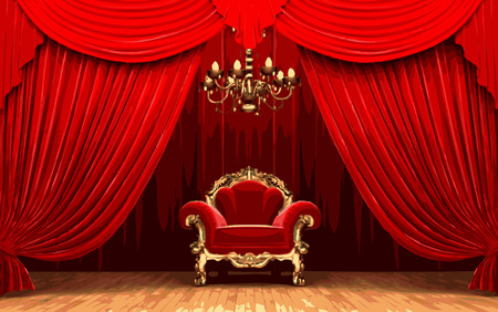 vector chair on red curtain stage Vector