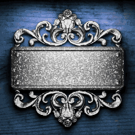 vector metal ornament on wood background Vector