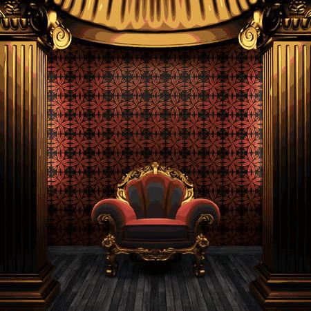 vector bronze columns, chair and tile wall Vector