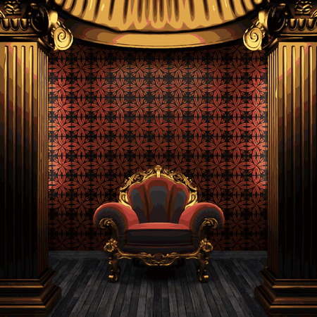 tile wall: vector bronze columns, chair and tile wall