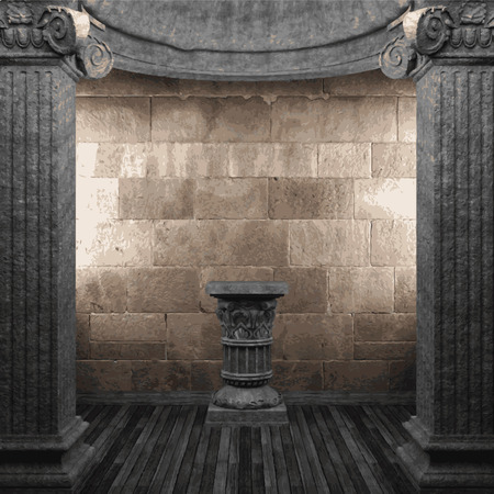 vector stone columns and pedestal Illustration