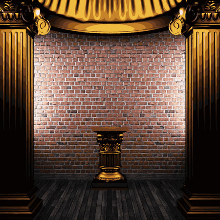 vector stone wall and golden columns Illustration