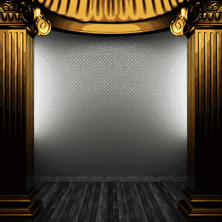 architectural feature: vector bronze columns and wallpaper