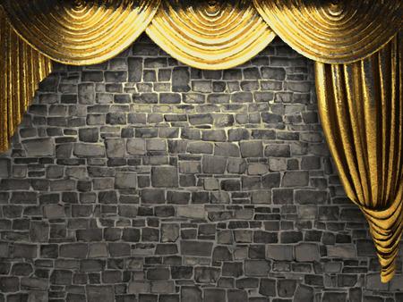 curtain background: vector golden curtain background Illustration