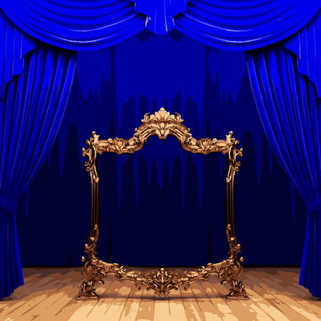 lyric: vector golden frame and blue curtain stage