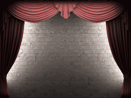 opulent: vector velvet curtain and stone wall background Illustration