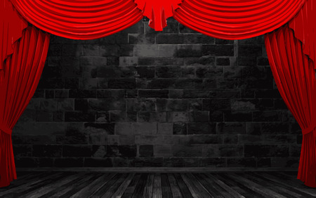 vector red velvet curtain stage Vector