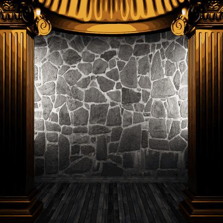 vector stone wall and golden columns Vector