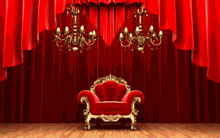 lyric: vector chair on red curtain stage