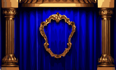 blue curtain: vector golden frame and blue curtain stage