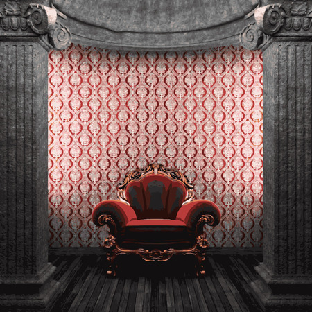 pilaster: vector stone columns, chair and wallpaper