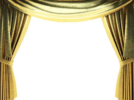 carmine: vector golden curtain background Illustration