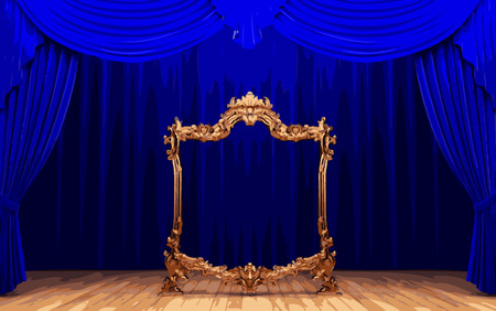opulence: vector golden frame and blue curtain stage