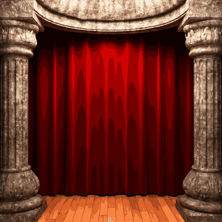 ambiance: vector red velvet curtain stage