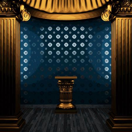tile wall: vector bronze columns, pedestal and tile wall