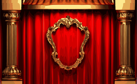 opulence: vector golden frame and rev curtain stage Illustration