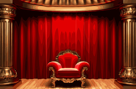 opulent: vector chair and red curtain stage