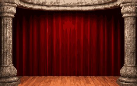 etapa cortina de terciopelo rojo vector